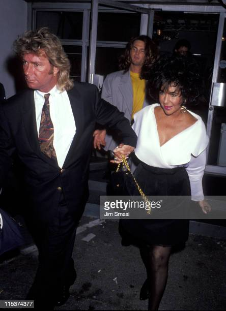 Larry Fortensky and Elizabeth Taylor during Fundraiser For The Los Angeles Center For Living at Santa Monica Airport in Santa Monica California...