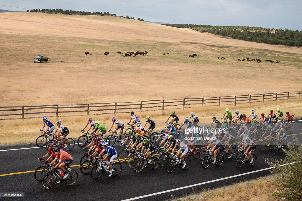 Larry H Miller Tour of Utah Stage 1 Bison graze in the distance as the peloton begins the first stage of the Larry H Miller Tour of Utah in Cedar...