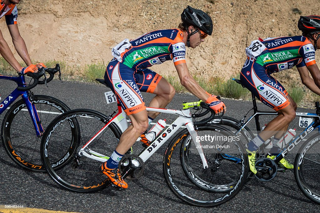 Larry H Miller Tour of Utah Stage 1 Damiano Cunego riding for the NippoVini Fantini cruises along in the bunch on the way to Cedar City on August 1...