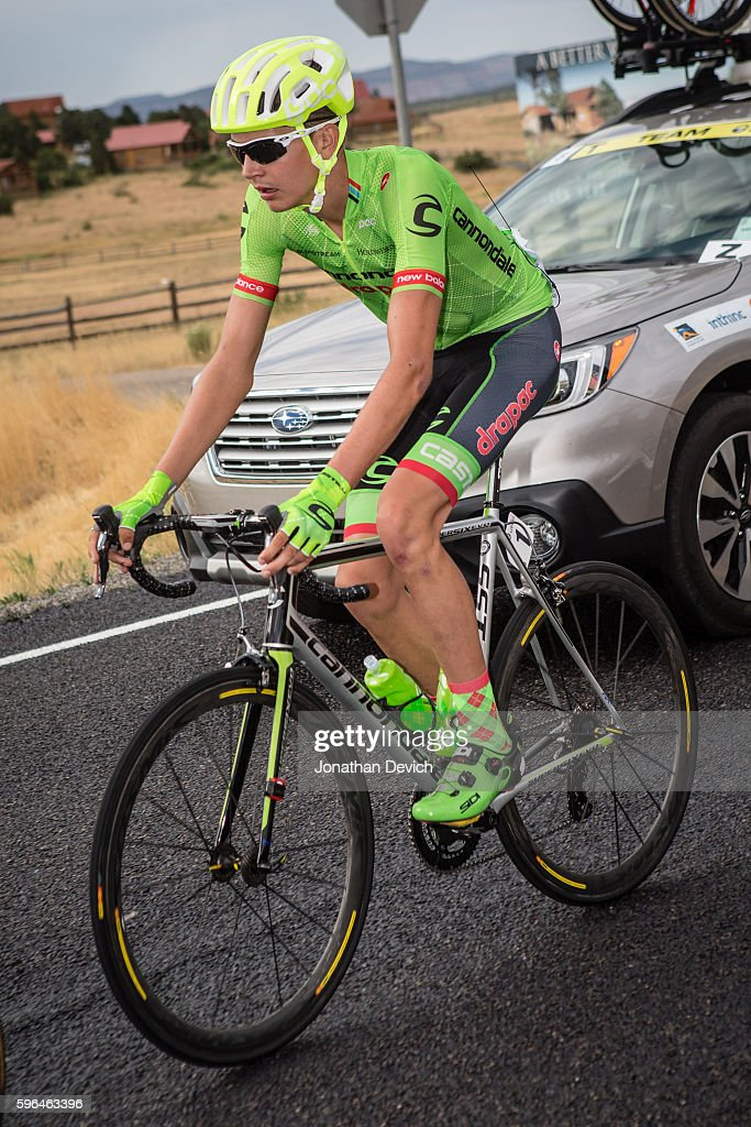 Larry H Miller Tour of Utah Stage 1 Joe Dombrowski riding for the CannondaleDrapac Pro Cycling Team rides through the caravan in Cedar City on August...