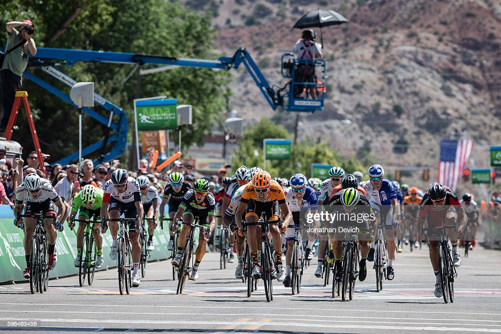 Larry H Miller Tour of Utah Stage 1 Kristofer Dahl riding for the Silber Pro Cycling Team leads the bunch in to win the stage in Cedar City on August...