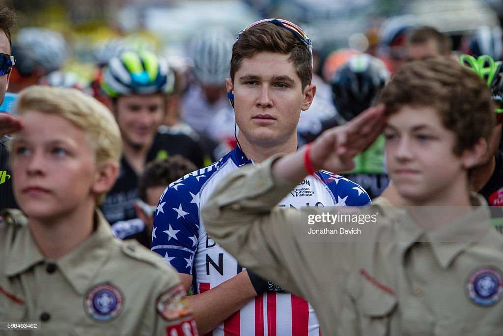 Larry H Miller Tour of Utah Stage 1 National champion Gregory Daniel riding for the AxeonHagens Berman team concentrates during the national anthem...