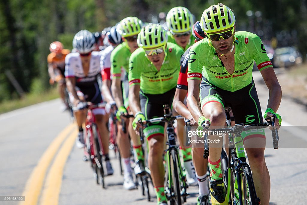 Larry H Miller Tour of Utah Stage 1 Phil Gaimon riding for the CannondaleDrapac Pro Cycling Team leads the peloton during stage 1 in Cedar City on...