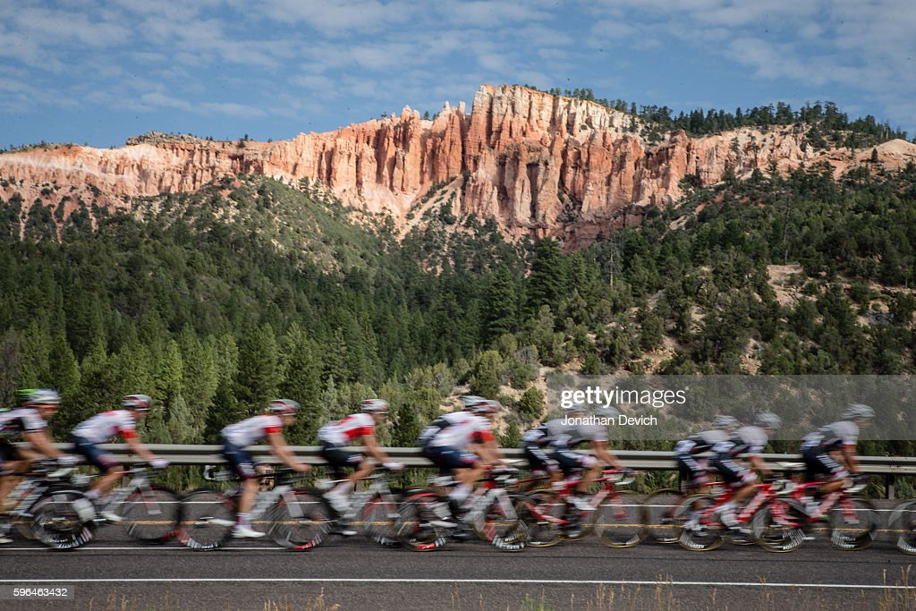 Larry H Miller Tour of Utah Stage 1 Riders pass by an eroded backdrop near Bryce Canyon during stage 1 on the way to Cedar City on August 1 2016 in...