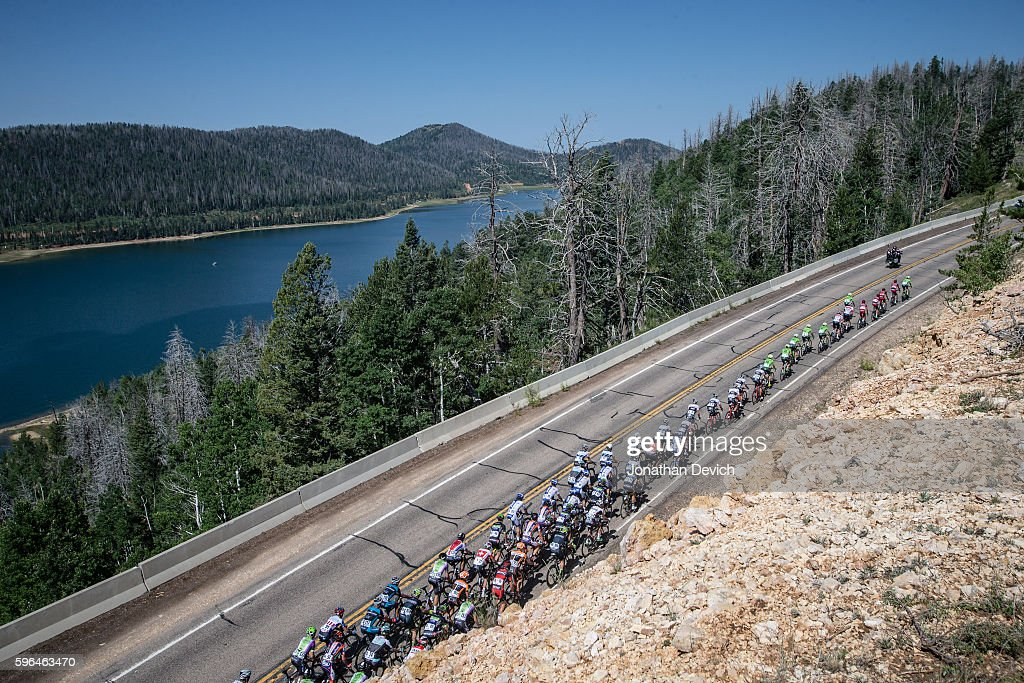 Larry H Miller Tour of Utah Stage 1 The peloton climbs near Navajo Lake on the way to Cedar City on August 1 2016 in Cedar City Utah *** LOCAL