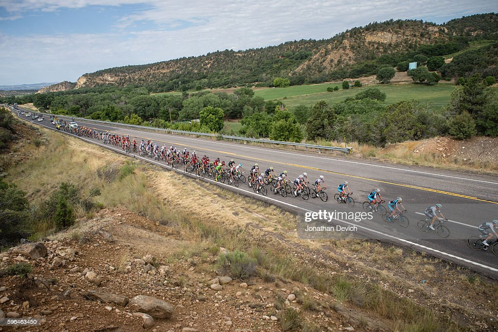 Larry H Miller Tour of Utah Stage 1 The peloton gets strung out with a break up the road during stage 1 in Cedar City on August 1 2016 in Cedar City...