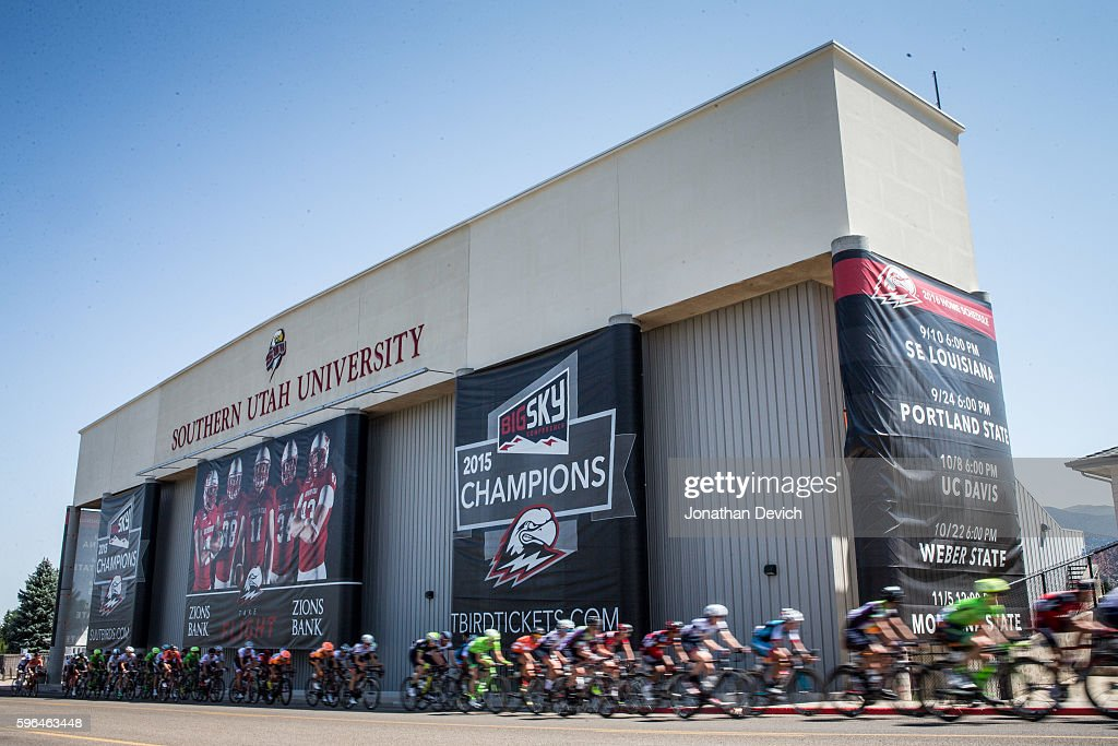 Larry H Miller Tour of Utah Stage 1 The peloton passes by Southern Utah University stadium as it completes its final laps in Cedar City on August 1...
