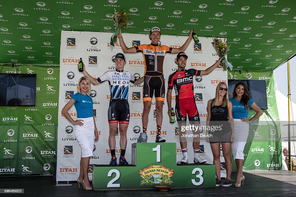 Larry H Miller Tour of Utah Stage 1 The top three podium for stage 1 with Kristofer Dahl riding for the Silber Pro Cycling team in first Colin Joyce...