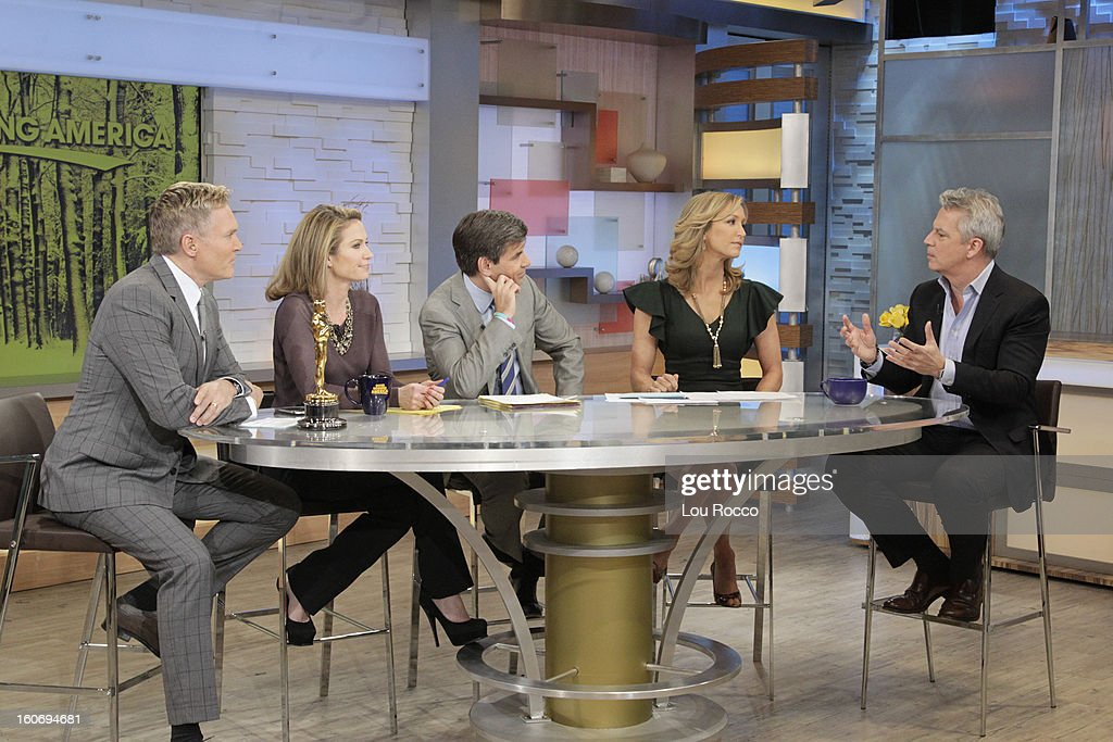 AMERICA - Larry Hackett of People Magazine is a guest on 'Good Morning America,' 2/4/13, airing on the ABC Television Network. The Oscar appears courtesy of ©AMPAS. (Photo by Lou Rocco/ABC via Getty Images) SAM