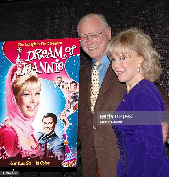 Larry Hagman and Barbara Eden during Barbara Eden Larry Hagman Sign 'I Dream Of Jeannie' DVD March 15 2006 at Barnes Noble in New York City New York...