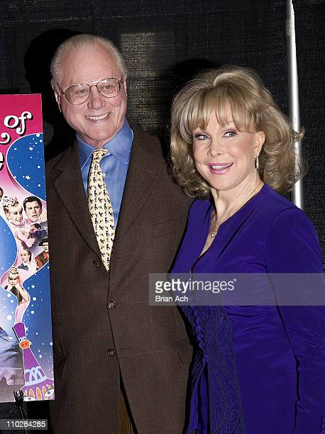 Larry Hagman and Barbara Eden during Larry Hagman and Barbara Eden Sign 'I Dream of Jeanie' DVD at BN in New York City March 15 2005 at Barnes and...