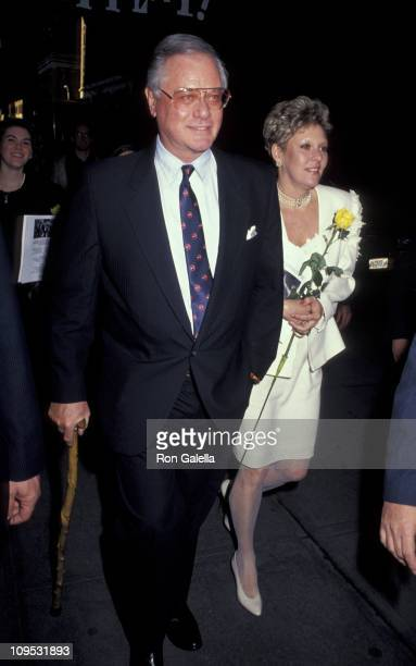 Larry Hagman and guest during Memorial Service for Mary Martin January 28 1991 at Majestic Theater in New York City New York United States