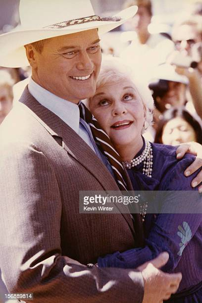 Larry Hagman and his mother actress Mary Martin attend Larry Hagman's Hollywood Walk of Fame Ceremony at Hollywood Walk of Fame on September 21 1981...