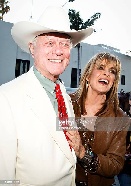 Larry Hagman and Linda Gray arrive to the Larry Hagman And Linda Gray VIP Preview Party At Julien's Auction on June 1 2011 in Beverly Hills California