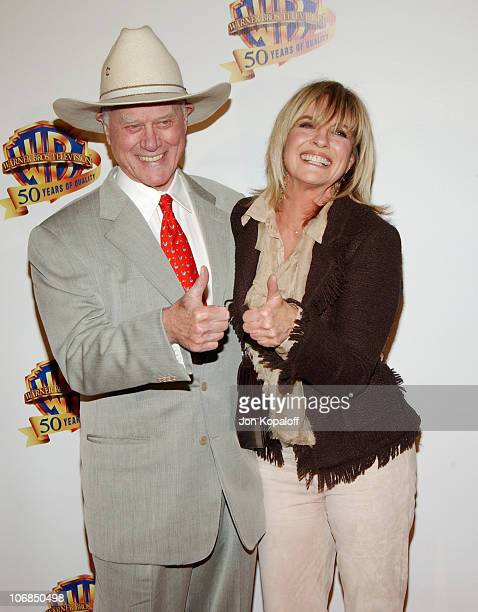 Larry Hagman and Linda Gray during Warner Bros Television and Warner Home Video Celebrate 50 Years Of Quality TV Arrivals at Warner Bros Studios in...