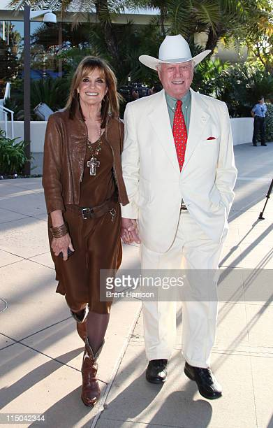 Larry Hagman and Linda Gray prepare to ride horses down Wilshire Blvd to celebrate The Larry Hagman Collection at Julien's Auctions beginning their...