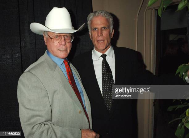Larry Hagman and Ted Danson during 2006 TV Land Awards Backstage and Audience at Barker Hangar in Santa Monica California United States