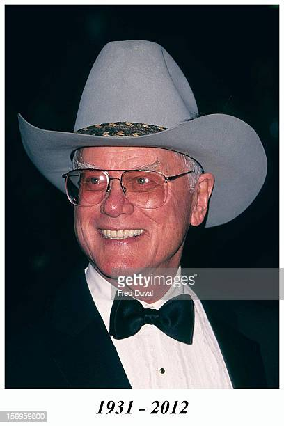 Larry Hagman in a cowboy hat during The 2001 Television Awards at Royal Albert Hall on October 24 2001 in London United Kingdom Larry Hagman died in...