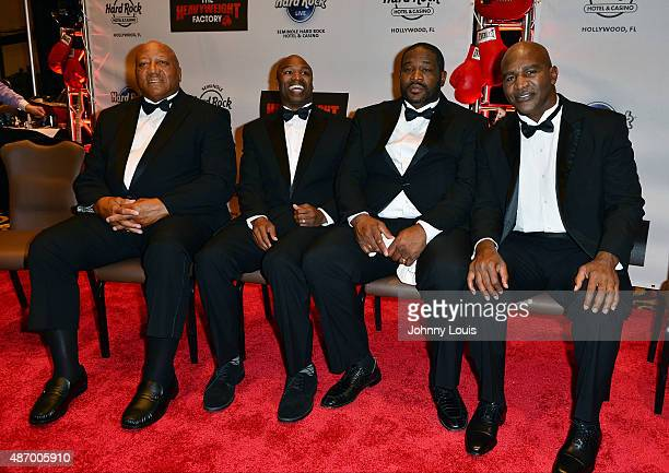 Larry Holmes Chris Byrd Riddick Bowe and Evander Holyfield attends Former World Heavyweight Champions Official WeighIn and Media day at Seminole Hard...