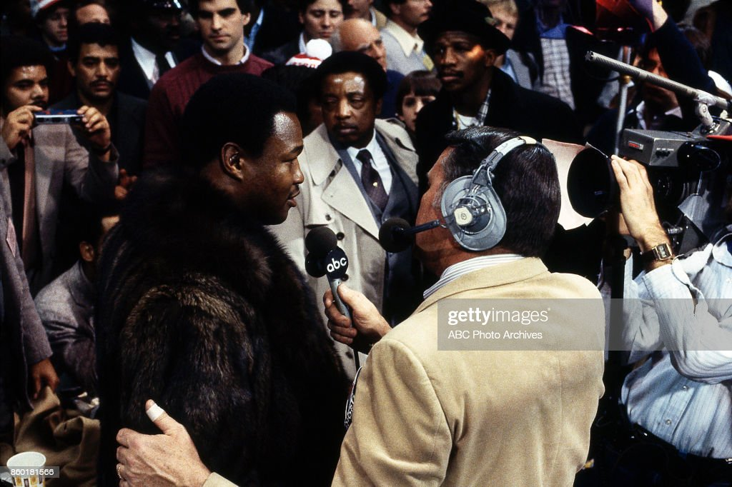 Larry Holmes, Keith Jackson at Public Hall, Feb 12, 1983.