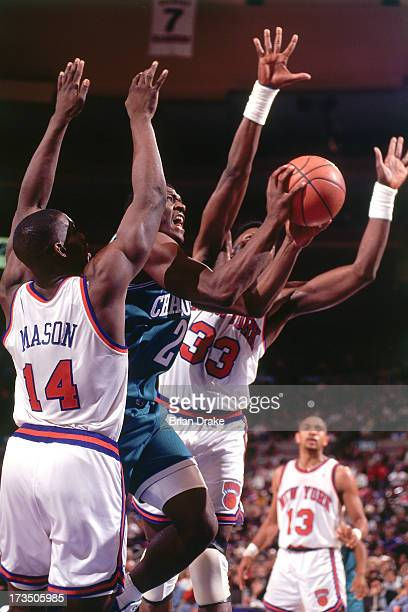 Larry Johnson of the Charlotte Hornets goes up for a shot against Patrick Ewing and Anthony Mason of the New York Knicks during a game played circa...