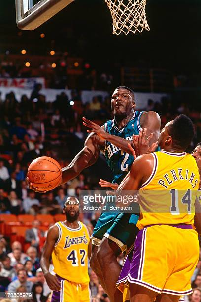 Larry Johnson of the Charlotte Hornets rises for a layup against Sam Perkins of the Los Angeles Lakers during a game played circa 1991 at the Great...