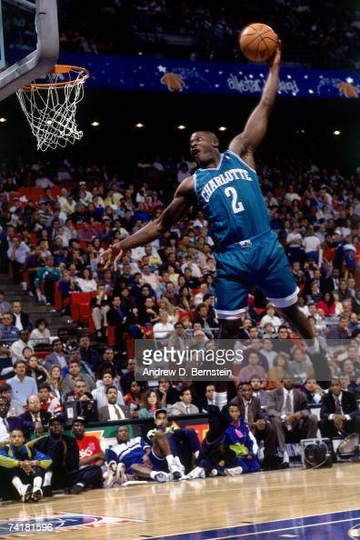 Larry Johnson of the Charlotte Hornets soars for a dunk during the 1991 season NOTE TO USER User expressly acknowledges that by downloading and or...