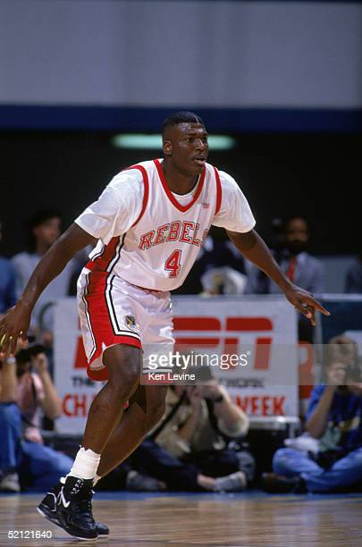 Larry Johnson of the University of Las Vegas Nevada Rebels plays defense during an NCAA game against Cal State Long Beach in March of 1991