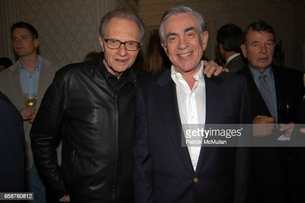 Larry King and Marty Bregman attend Kathy and Rick Hilton's party for Donald Trump and 'The Apprentice' at the Hiltons' Home on February 28 2004 in...