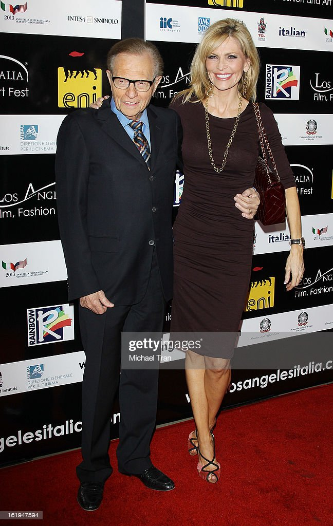 <a gi-track='captionPersonalityLinkClicked' href=/galleries/search?phrase=Larry+King&family=editorial&specificpeople=202014 ng-click='$event.stopPropagation()'>Larry King</a> and Shawn Southwick arrive at The 8th Annual Los Angeles, Italia Film, Fashion And Art Festival held at Chinese 6 Theatres on February 17, 2013 in Hollywood, California.