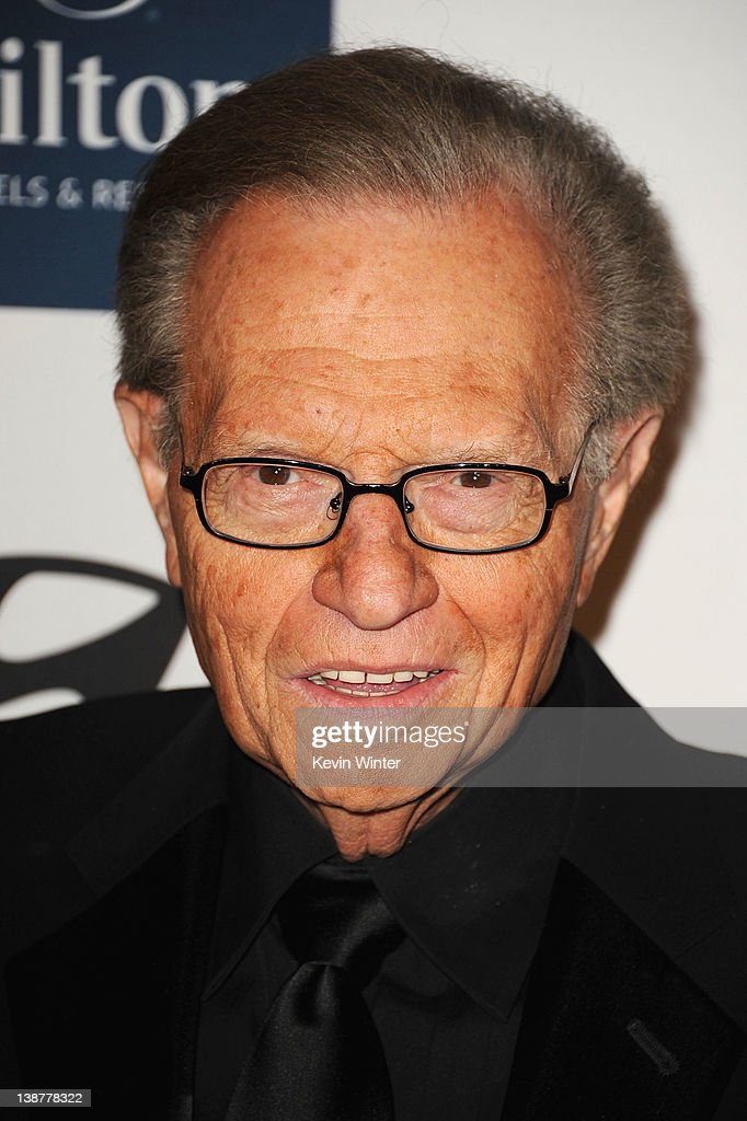 <a gi-track='captionPersonalityLinkClicked' href=/galleries/search?phrase=Larry+King&family=editorial&specificpeople=202014 ng-click='$event.stopPropagation()'>Larry King</a> arrives at Clive Davis and the Recording Academy's 2012 Pre-GRAMMY Gala and Salute to Industry Icons Honoring Richard Branson held at The Beverly Hilton Hotel on February 11, 2012 in Beverly Hills, California.