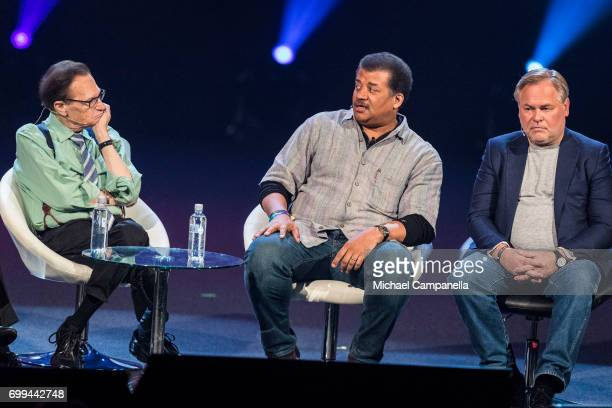 Larry King Neil deGrasse Tyson and Eugene Kaspersky participate in a roundtable discussion during the Starmus Festival on June 21 2017 in Trondheim...