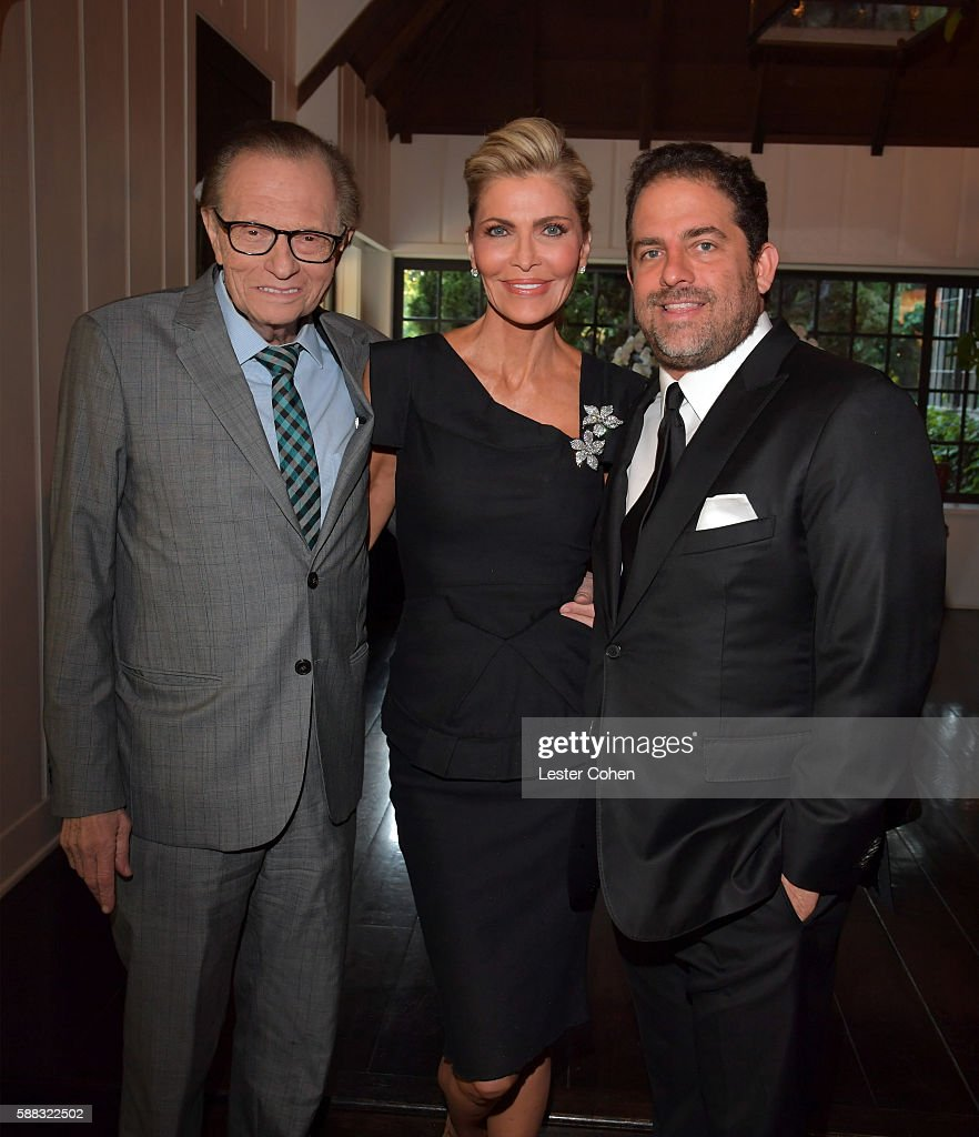 Larry King, Shawn King, and host Brett Ratner attend the special event for UN Secretary-General Ban Ki-moon hosted by Brett Ratner and David Raymond at Hilhaven Lodge on August 10, 2016 in Los Angeles, California.