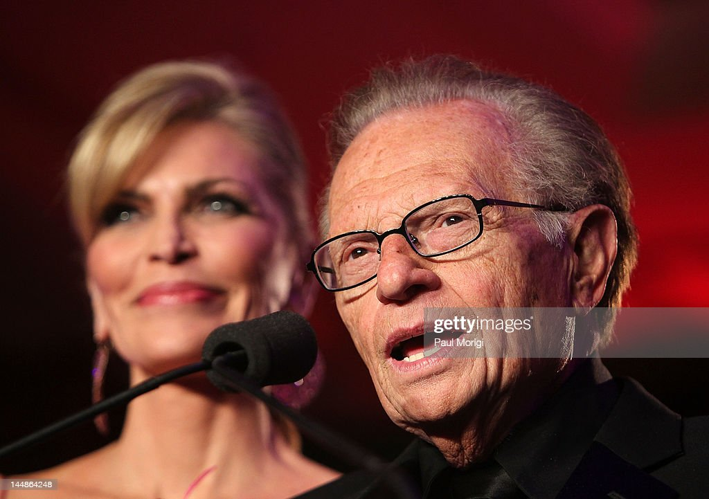 <a gi-track='captionPersonalityLinkClicked' href=/galleries/search?phrase=Larry+King&family=editorial&specificpeople=202014 ng-click='$event.stopPropagation()'>Larry King</a> (R) speaks besdie co-host Shawn King on stage during the 18th Annual <a gi-track='captionPersonalityLinkClicked' href=/galleries/search?phrase=Larry+King&family=editorial&specificpeople=202014 ng-click='$event.stopPropagation()'>Larry King</a> Cardiac Foundation Gala at Ritz Carlton Hotel on May 19, 2012 in Washington, DC.