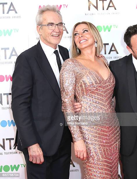 Larry Lamb and Carol Vorderman poses in the winners room at the National Television Awards at The O2 Arena on January 25 2017 in London England