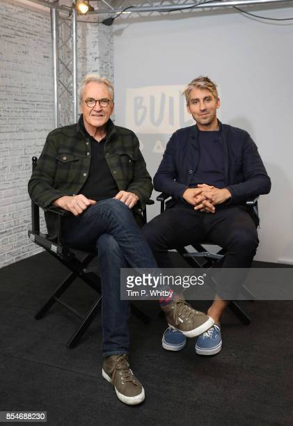 Larry Lamb and George Lamb pose for a photo after discussing their new television programme 'Britain by Bike with Larry and George Lamb' during a...