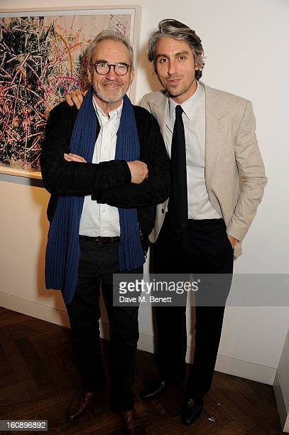 Larry Lamb and son George Lamb attend a private view of 'Jose Parla Broken Language' at Haunch of Venison on February 7 2013 in London England
