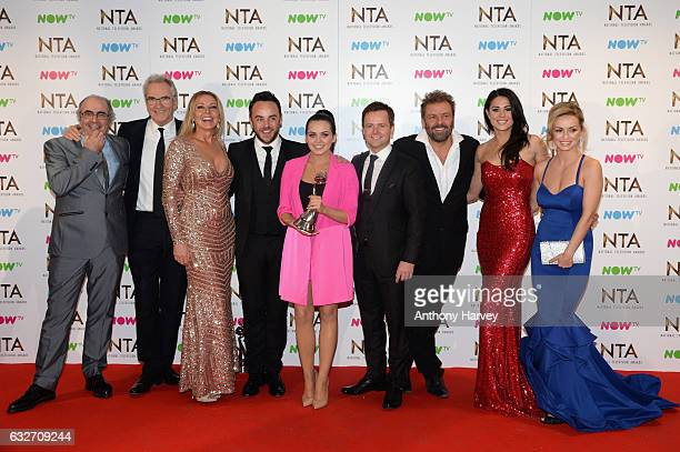Larry Lamb Carol Vorderman Anthony McPartlin Scarlett Moffatt Declan Donnelly Martin Roberts Sam Quek and Ola Jordan pose in the winners room with...