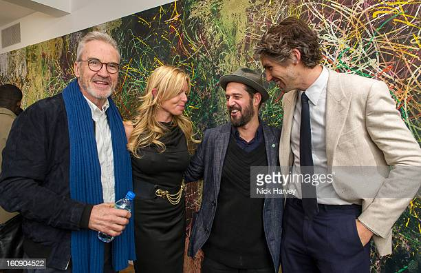 Larry Lamb Fru Tholstrup Jose Parla and George Lamb attend the private view of Jose Parla Broken Language at Haunch of Venison on February 7 2013 in...