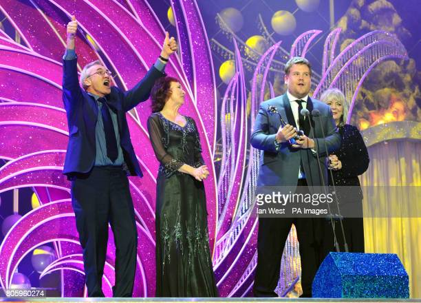 Larry Lamb Melanie Walters James Corden and Alison Steadman collect the Comedy award recieved for Gavin and Stacey during the National Television...