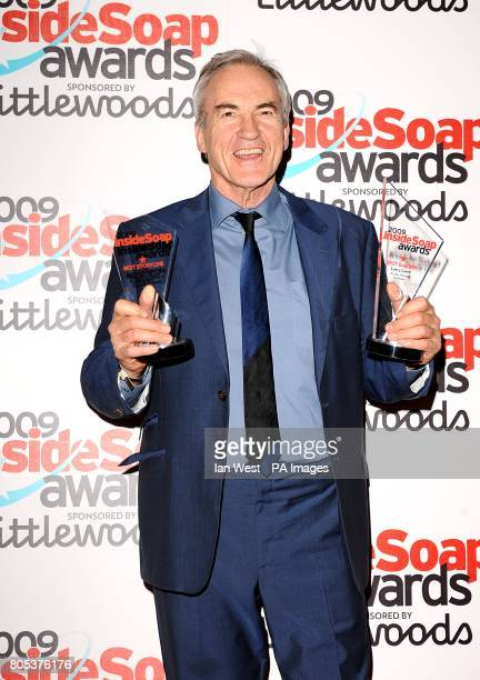 Larry Lamb with the Best Bad Boy and Best Storyline awards at the 2009 Inside Soap Awards at Sketch Conduit Street London