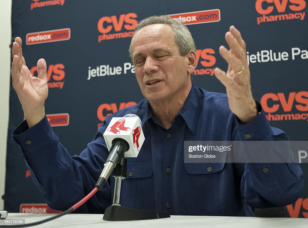 Larry Lucchino, President and CEO of the Boston Red Sox, during a press conference. Day three of spring training at the Red Sox training facilities at JetBlue Park on Thursday, Feb. 14, 2013.