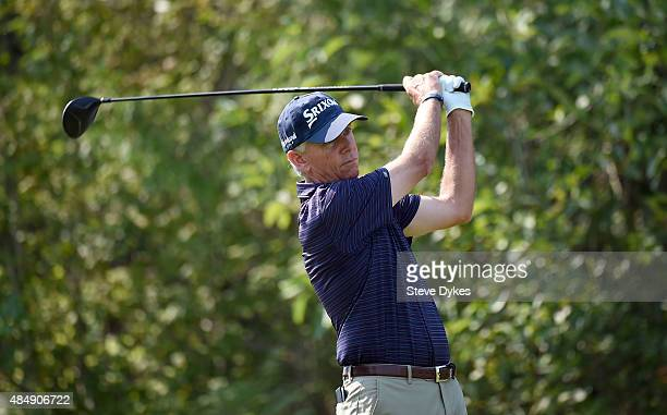 Larry Mize hits his tee shot on the 15th hole during the second round of the Boeing Classic on August 22 2015 in Snoqualmie Washington