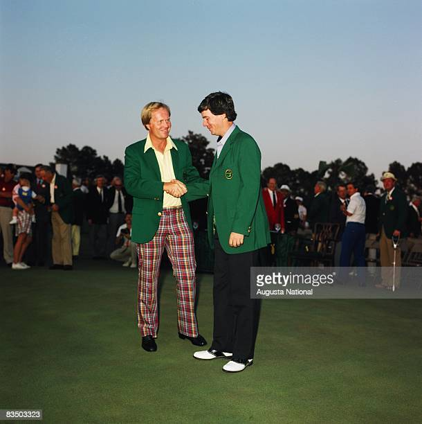 Larry Mize is congratulated by Jack Nicklaus after winning the 1987 Masters Tournament at Augusta National Golf Club in April 1987 in Augusta Georgia