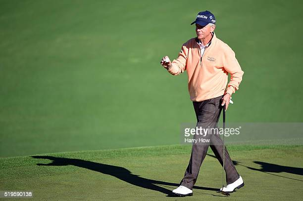 Larry Mize of the United States celebrates after birdie on the second hole during the first round of the 2016 Masters Tournament at Augusta National...