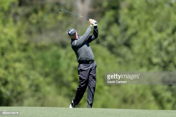 Larry Mize of the United States plays his second shot on the fifth hole during the second round of the 2017 Masters Tournament at Augusta National...