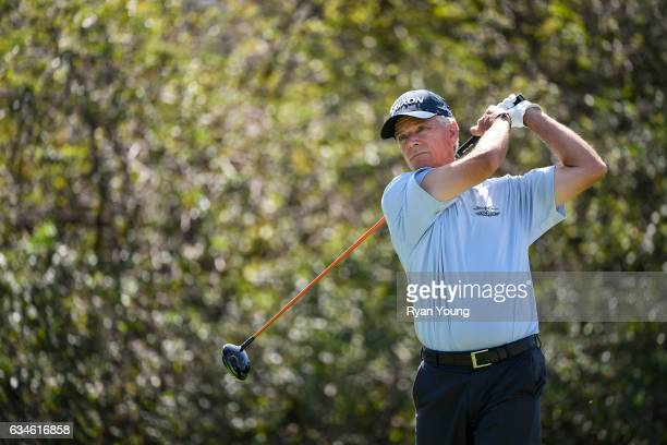 Larry Mize tees off on the ninth hole during the first round of the PGA TOUR Champions Allianz Championship at The Old Course at Broken Sound on...
