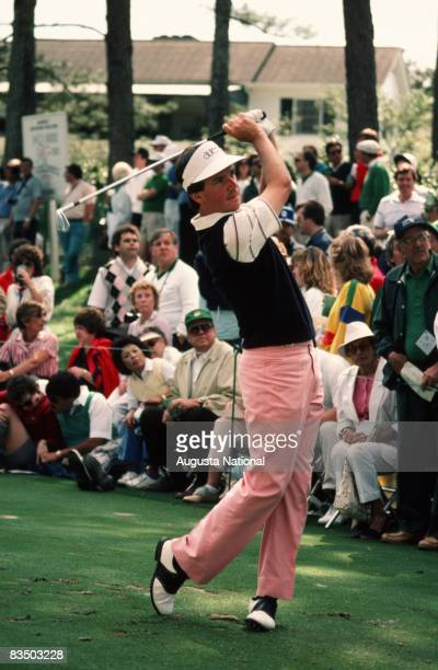Larry Mize watches his shot during the 1986 Masters Tournament at Augusta National Golf Club in April 1986 in Augusta Georgia