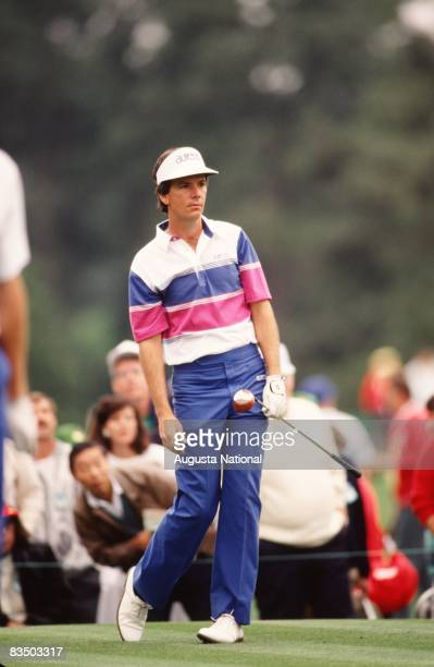 Larry Mize watches his shot during the 1989 Masters Tournament at Augusta National Golf Club in April 1989 in Augusta Georgia