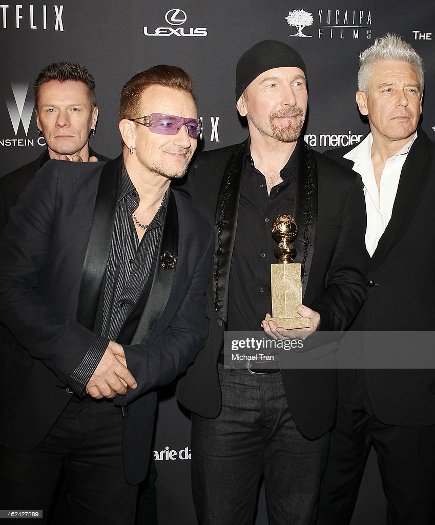 Larry Mullen, <a gi-track='captionPersonalityLinkClicked' href=/galleries/search?phrase=Bono+-+Singer&family=editorial&specificpeople=167279 ng-click='$event.stopPropagation()'>Bono</a>, The Edge and Adam Clayton of music group <a gi-track='captionPersonalityLinkClicked' href=/galleries/search?phrase=U2&family=editorial&specificpeople=201268 ng-click='$event.stopPropagation()'>U2</a> arrive at The Weinstein Company and NetFlix 2014 Golden Globe Awards after party held on January 12, 2014 in Beverly Hills, California.